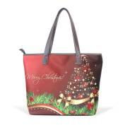 BENNIGIRY Women Leather Tote Top Handle Tote Shoulder Bags Handbags Christmas Tree for Girls Ladies