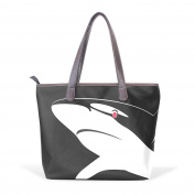 BENNIGIRY Womens White Shark Shoulder Bags Leather Tote Top Handle Bags Ladies Handbag