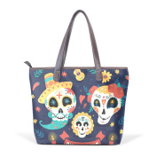BENNIGIRY Womens Day Of The Dead Candy Skulls Shoulder Bags Leather Tote Top Handle Bags Ladies Handbag