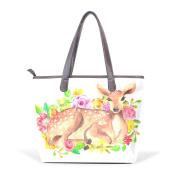 BENNIGIRY Womens Flower Deer Shoulder Bags Leather Tote Top Handle Bags Ladies Handbag
