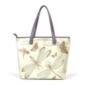 BENNIGIRY Dragonfly Leather Tote Bag Handbag Shoulder Bag for Women Girls