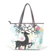 BENNIGIRY Women Large Tote Top Handle Shoulder Bags Flower Deer Patern Ladies Handbag