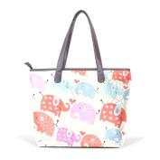 BENNIGIRY Womens Elephant Flowers Shoulder Bags Leather Tote Top Handle Bags Ladies Handbag