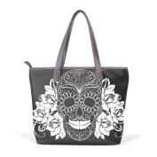 BENNIGIRY Day Of The Dead Skulls Leather Tote Bag Handbag Shoulder Bag for Women Girls