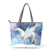 BENNIGIRY Women Large Tote Top Handle Shoulder Bags Galaxy Unicorn Patern Ladies Handbag