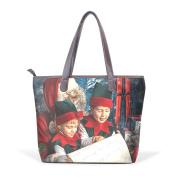 BENNIGIRY Womens Winter Holiday Chriestmas Santa Claus Shoulder Bags Leather Tote Top Handle Bags Ladies Handbag