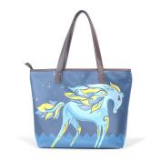 BENNIGIRY Womens Rainbow Unicorn Shoulder Bags Leather Tote Top Handle Bags Ladies Handbag