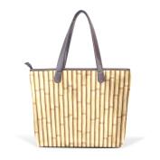 BENNIGIRY Bamboo Leather Tote Bag Handbag Shoulder Bag for Women Girls