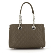Laura Moretti - Smooth and suede leather flap / 50's style bag with paper clip-inspired closure