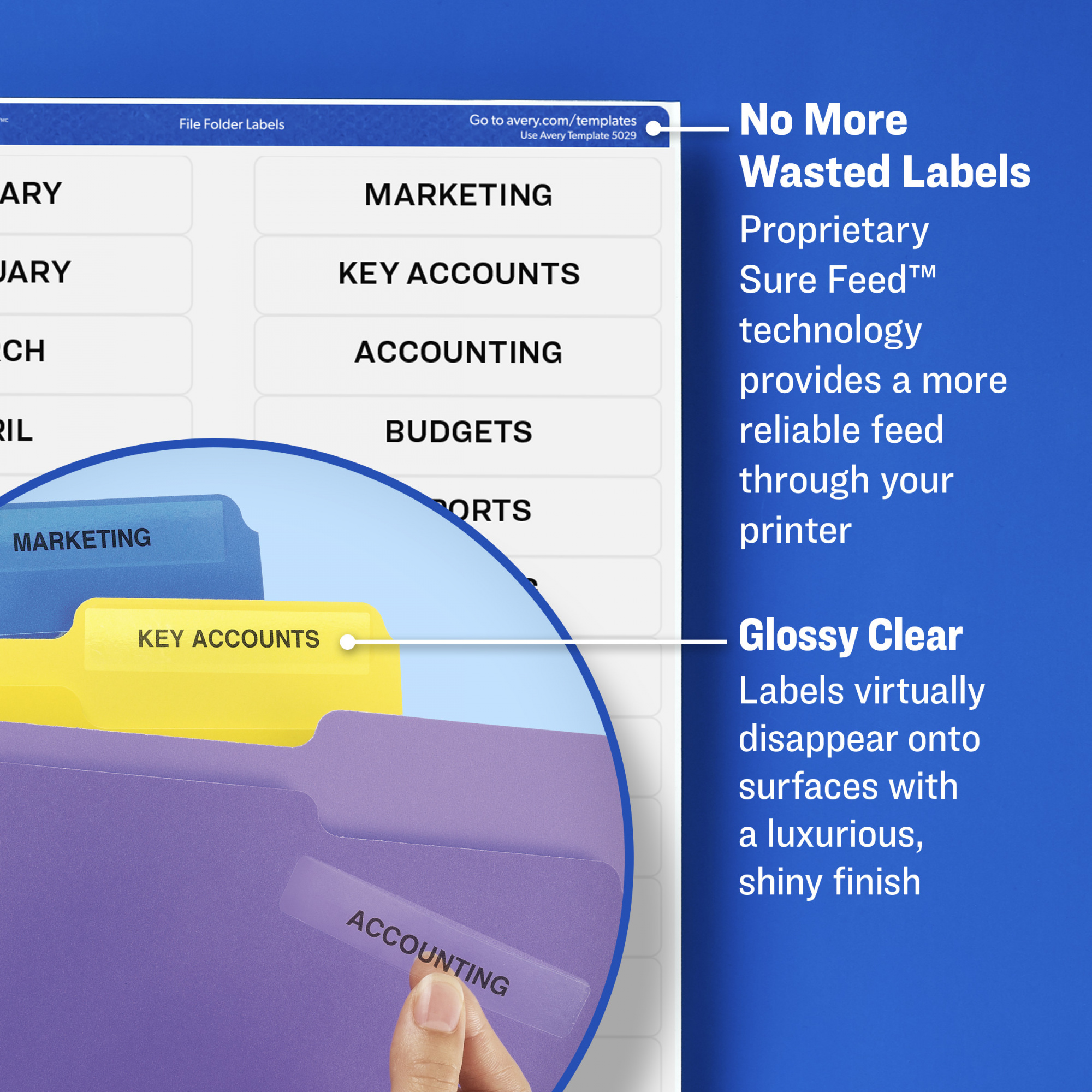 """Avery File Folder Labels, Sure Feed Technology, Permanent Adhesive, Glossy  Clear, 2/3"""" x 3-7/16"""", 450 Labels"""