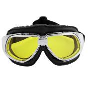 Motorbike Yellow Lens Adjustable Strap Resistant Glasses Goggles