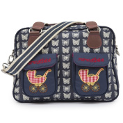 Pink Lining Mama Et Bebe Baby Changing Nappy Bag - Cream Butterflies on Navy