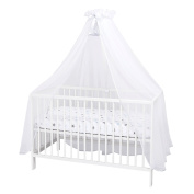 callyna® Baby Cot – SKY XXL with Stand, Sailing Decorative Large White. Mosquito Net for Cot. N & # X153; UD