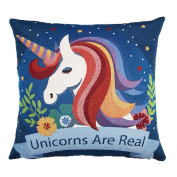 Lovely Unicorn Pattern Linen Decorative Pillow Case Square Waist Cushion Cover