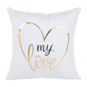 Deloito Lovely Gold Foil Printing Pillow Case Sofa Waist Throw Cushion Cover Home Decor B
