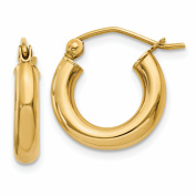 10k Polished 3mm Round Hoop Earrings