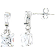 Plutus Sterling Silver Platinum-Finish Princess Fashion Earrings