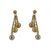 18Kt Diamond Cut Tri-Colour Ball Earrings