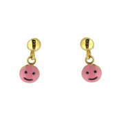 18Kt Yellow Gold Pink Happy Face Earring