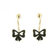 18K Yellow Gold polish bow dangle post earrings 1.5cm x 1cm