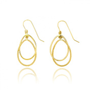 14k Yellow Gold Diamond Cut and High Polished Double Tear Drop Earring with Fish Hook for Women and Girls