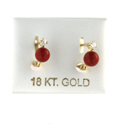 18Kt Yellow Gold Coral and Cubic Zirconia lever back Earrings