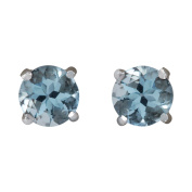 1.18CTW Natural Aquamarine Earrings 14K Solid White Gold