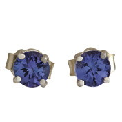 1.00CTW Natural Tanzanite Earrings In 14K Solid White Gold