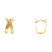 14K Solid Yellow Gold 8mm Thick Cubic Zirconia Crossover Huggie Hoop Earrings
