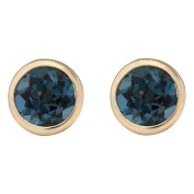 3.00 CTW Natural London Blue Topaz Earrings 14k Solid Yellow Gold