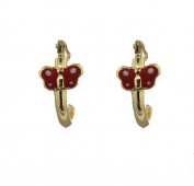 18k yellow gold red with white dots enamel butterfly hoop earrings