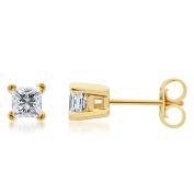 14k Yellow Gold 1/4ct TDW Princess-cut Certified Diamond Solitaire Stud Earrings,