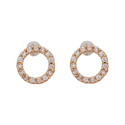 14K Yellow Gold Micropave Open Circle Hat Screw Back Stud Earring