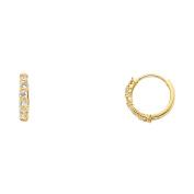 14K Solid Yellow Gold 2mm Cubic Zirconia Huggie Womens Earrings