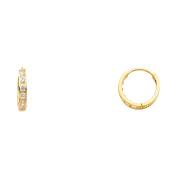 Womens 14K Solid Yellow Gold 2mm Cubic Zirconia Hoop Huggie Earrings