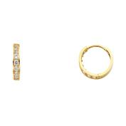 Womens 14K Solid Yellow Gold White Cubic Zirconia Hoop Huggie Earrings