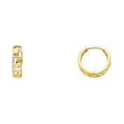 Ladies 14K Solid Yellow Gold 4mm Greek Key Huggies Earrings
