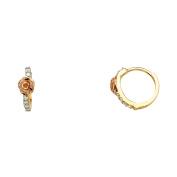 14K Solid Yellow Gold Rose Cubic Zirconia Hoop Earrings