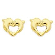 14K Yellow Gold Heart Dolphin Stud Earrings