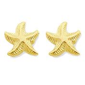 14K Yellow Gold Glossy Starfish Stud Earrings