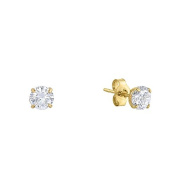 14k Yellow Gold Solitaire Round Cubic Zirconia CZ Stud Earrings with Gold butterfly Pushbacks