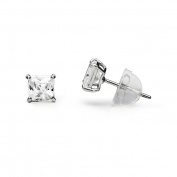CZ 4mm Square Earrings in 14k White Gold 0.50 Ct. t.w.