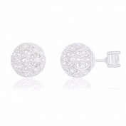 18k White Gold Plated Cubic Zirconia Princess Cut Solitaire Reversible Ball Stud Earrings
