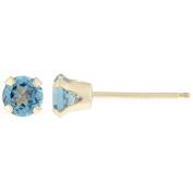 .20 CT Round 3MM Blue Topaz 14K Yellow Gold Stud Birthstone Earrings