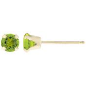 .20 CT Round 3MM Green Peridot 14K Yellow Gold Stud Birthstone Earrings