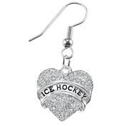 Ice Hockey Crystal Heart Earring-Hypoallergenic Nickel, and Lead Free!