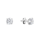 14k White Gold Solitaire Round Cubic Zirconia Stud Earrings with Gold butterfly Pushbacks