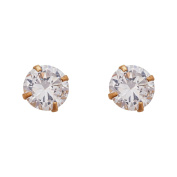 14K Yellow Gold 6mm Round Solitaire Ball Screw Back Stud Earring