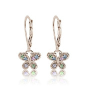 Kids Earring 925 Sterling Silver White Gold Mixed Coloured Crystal Butterfly