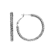 High Polished 50mm Rhodium Plated Diamond Cut Coil Hoop